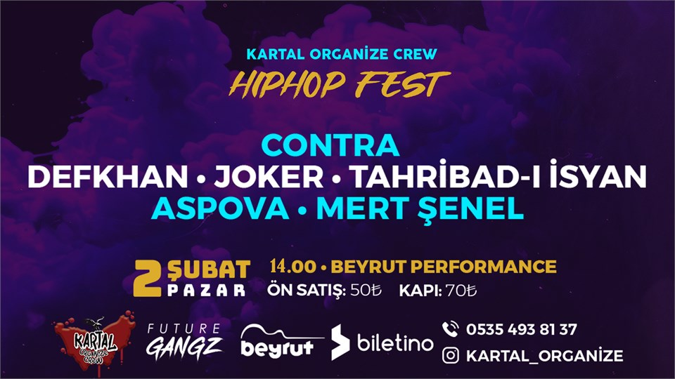 Contra, Defkhan, Joker Tahribad-ı İsyan, Aspova, Mert Şenel 2 Şubat Pazar, İstanbul-Kartal Beyrut Performance'da!