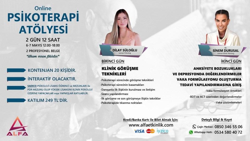 Online PSİKOTERAPİ ATÖLYESİ / 2 GÜN 6-7 MAYIS