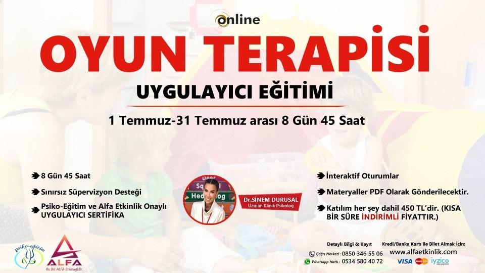 OYUN TERAPİSİ UYGULAYICI EĞİTİMİ 45 Saat / 1-31 Temmuz