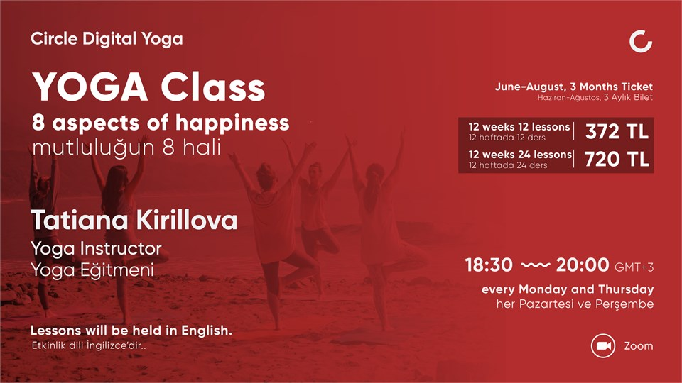 YOGA CLASS 8 aspects of happiness - June to August