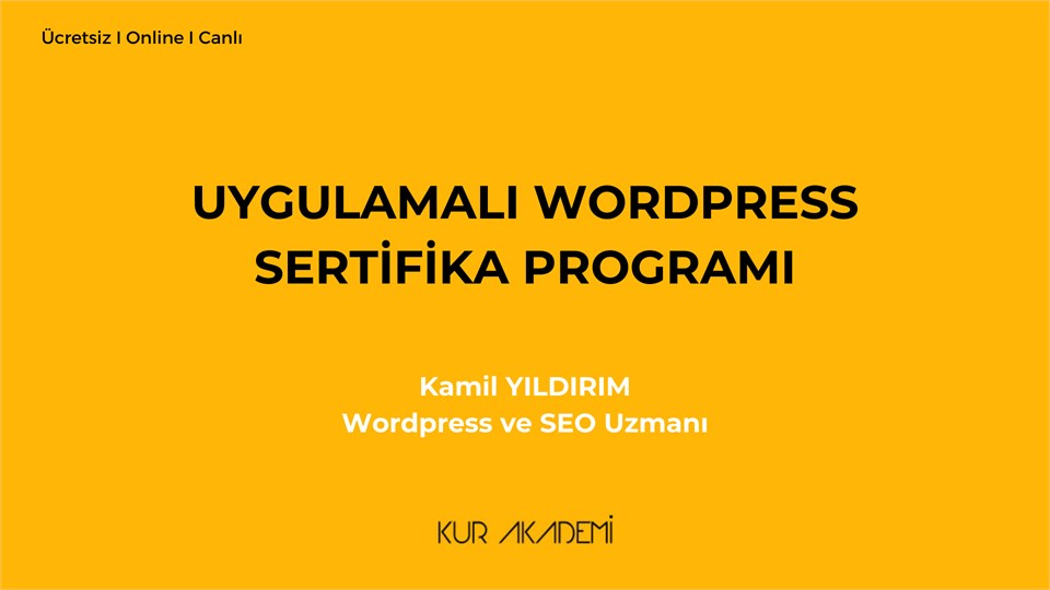 Uygulamalı WordPress Sertifika Programı