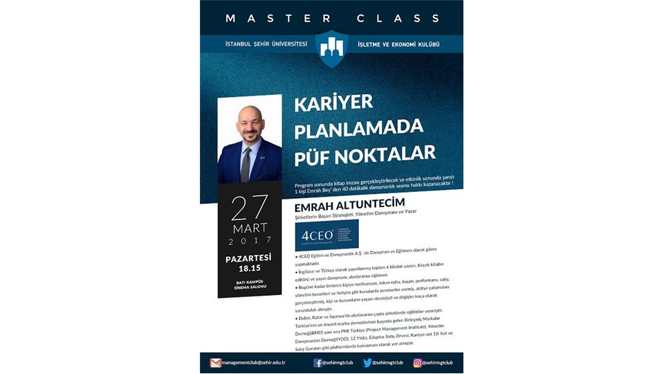 Master Class- Kariyer Planlamada Püf Noktalar