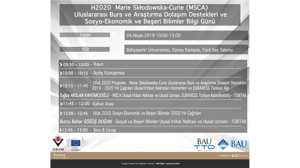 H2020  Marie Skłodowska-Curie (MSCA) Uluslararası Burs ve Araştırma Dolaşım Destekleri ve Sosyo-Ekonomik ve Beşeri Bilimler Bilgi Günü