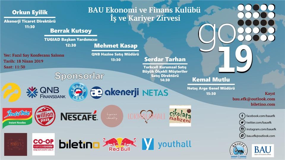 Bahçeşehir Üniversitesi Ekonomi ve Finans Kulübü GO'19 İş ve Kariyer Zirvesi