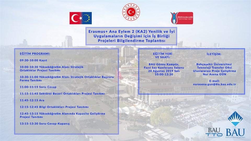 Erasmus+ Ana Eylem 2 (KA2) Yenilik ve İyi Uygulamaların Desteklenmesi için İş Birliği Projeleri Bilgilendirme Toplantısı