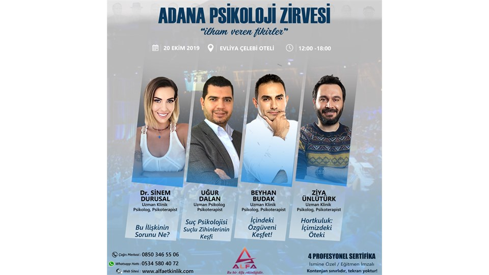 ADANA PSİKOLOJİ ZİRVESİ / 20 EKİM