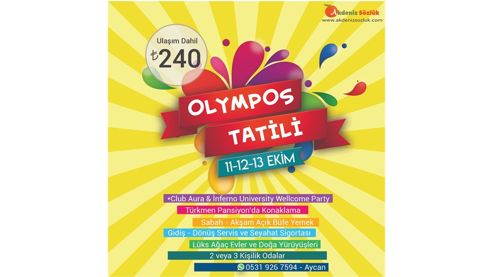 11-12-13 Ekim Olympos Tatili